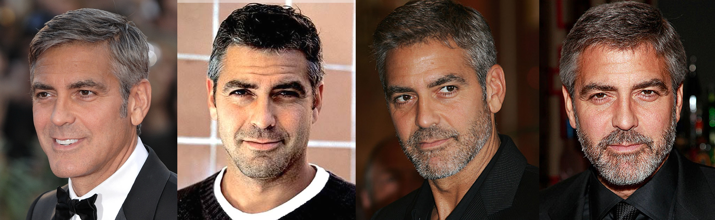 George Clooney with increasing facial hair